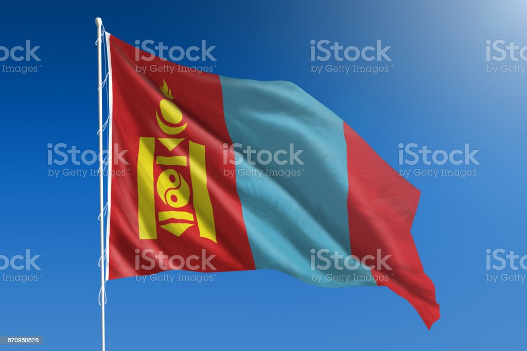 National flag of Mongolia on clear blue sky stock photo