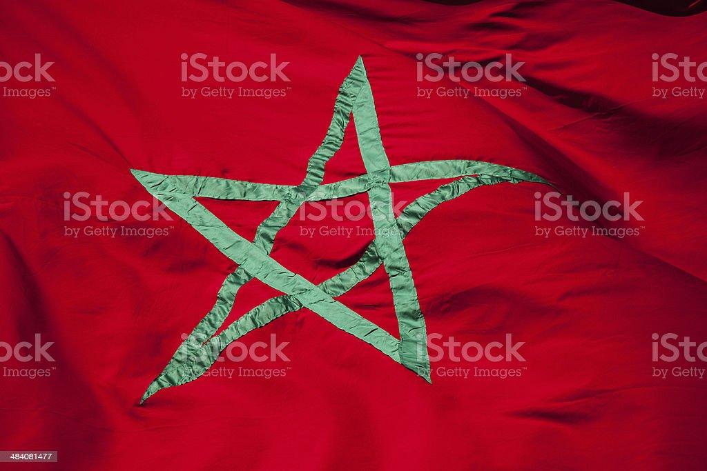 Bandiera Nazionale Del Marocco Stella Verde Su Sfondo Rosso