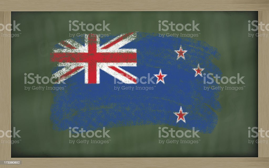 national flag of new zealand on blackboard painted with chalk royalty-free stock photo