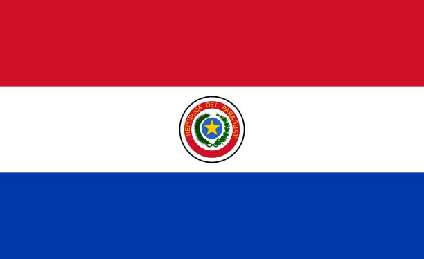 National flag of Paraguay stock photo