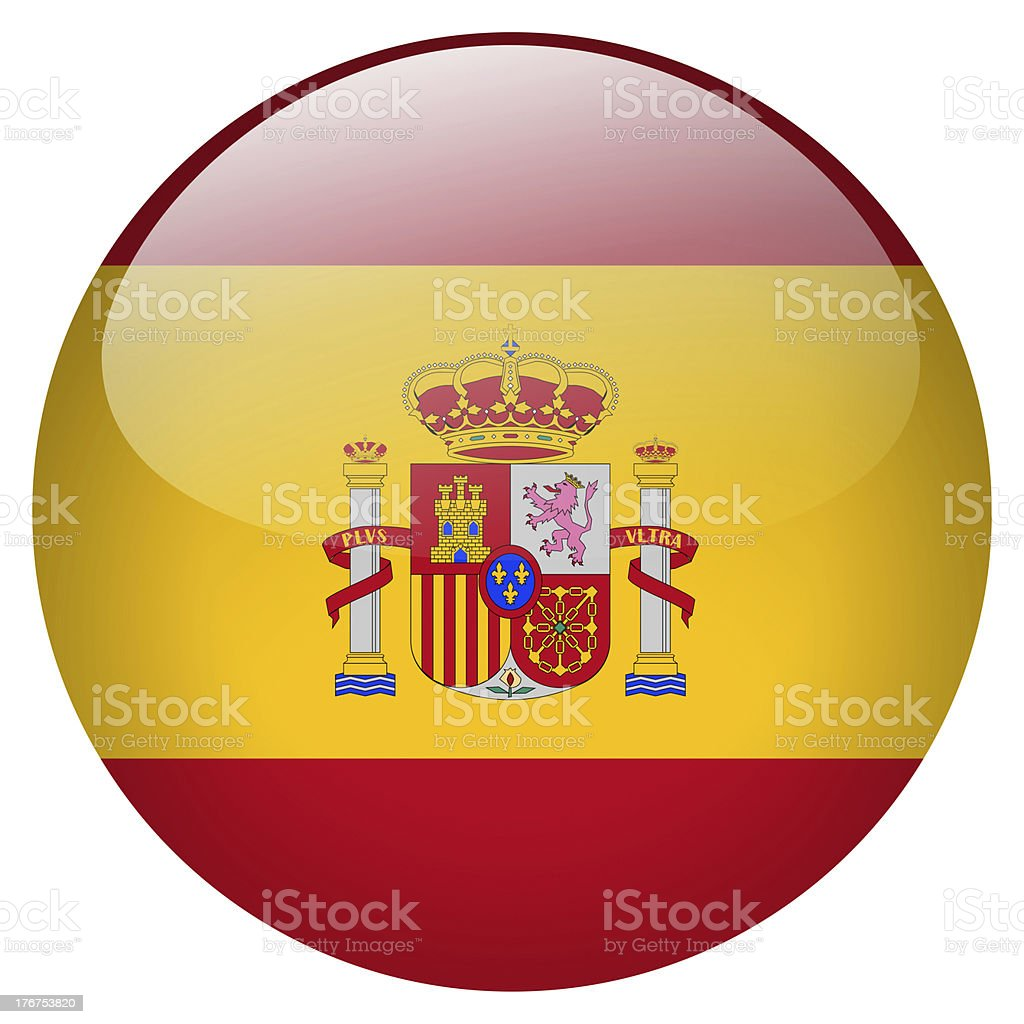 National flag of Spain on a button stock photo