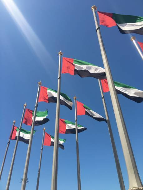 national flag of the united arab emirates - uae flag стоковые фото и изображения