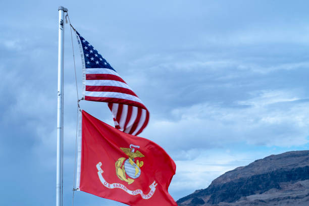 national flag of the united states of america and marine corp retired red flag flying on flag pole - marines stock photos and pictures