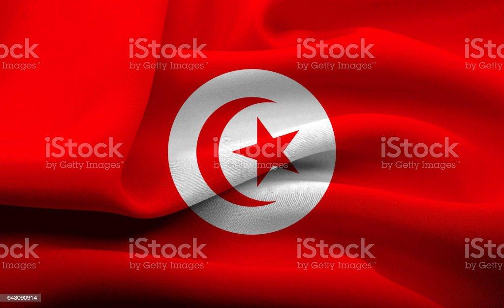National flag of Tunisia stock photo