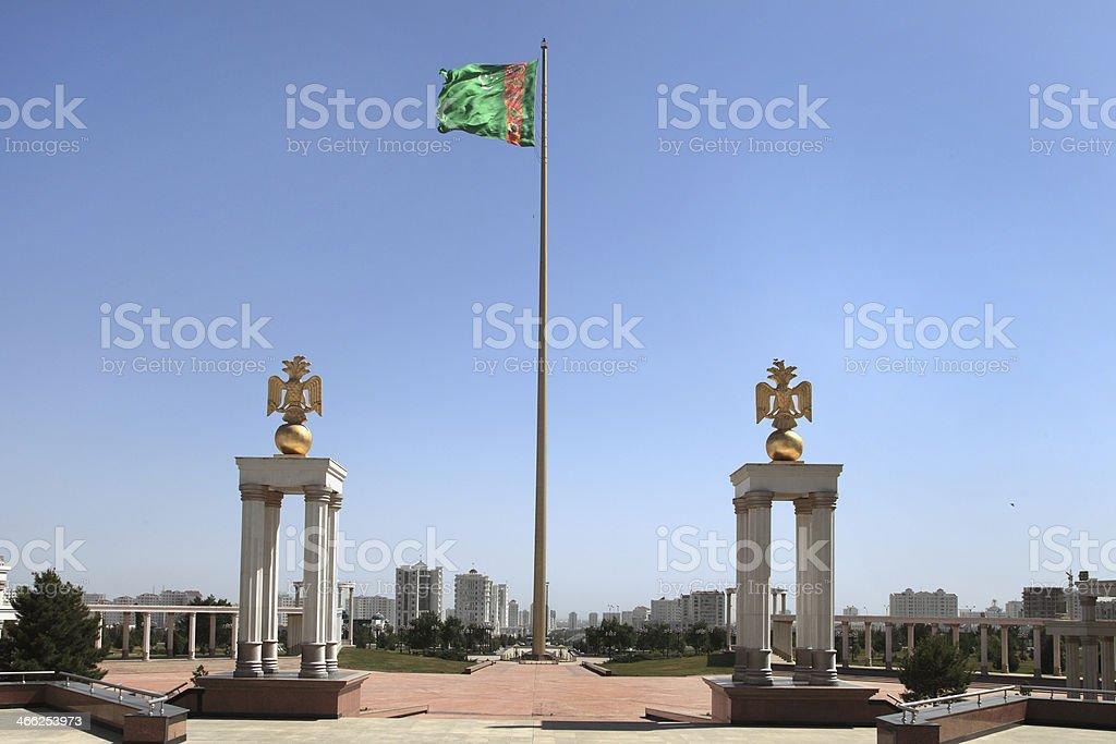 National flag of Turkmenistan stock photo