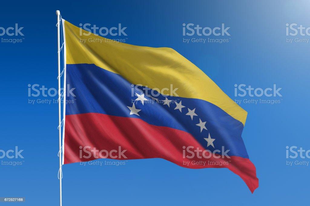 Bandera Nacional de Venezuela el claro cielo azul - foto de stock