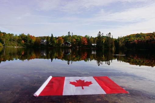 National flag on Canadian Rockies, Banff National Park