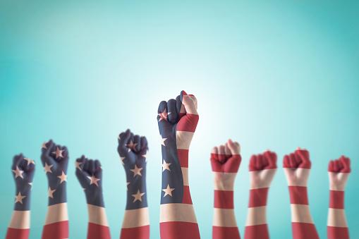 인권 리더십 노동 개념에 대 한 지도자의 주먹에 미국 국기 패턴 Political Party에 대한 스톡 사진 및 기타 이미지
