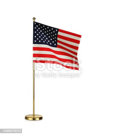 Table stand with national flag on white background