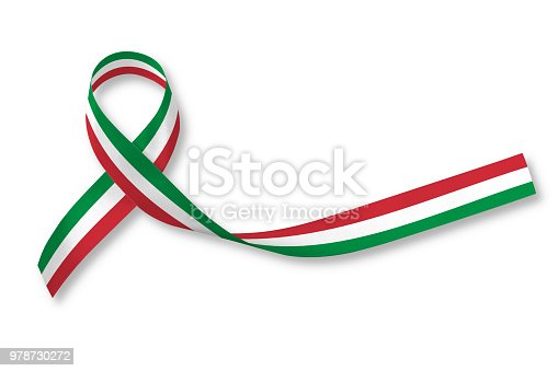 istock National flag ribbon pattern on white background (isolated  with clipping path) for Italy nation support or Mexico holiday festival in Cinco de Mayo 978730272