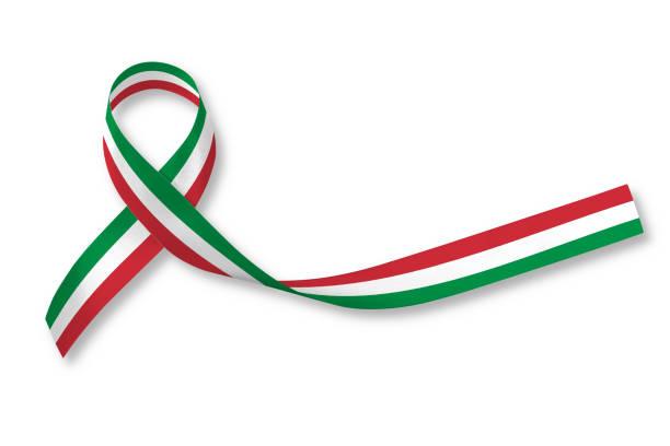 nationalflagge band muster auf weißem hintergrund (isoliert mit beschneidungspfad) für italien nation support oder mexiko urlaub festival in cinco de mayo - freistaat stock-fotos und bilder