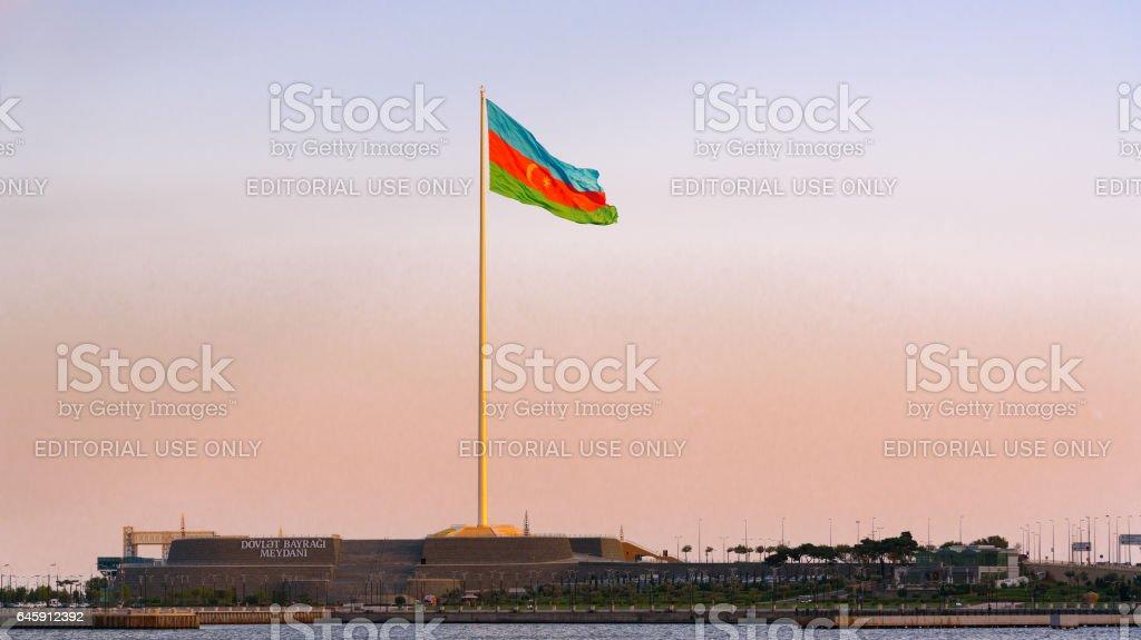 National Flag Square in Baku on sunset. Azerbaijan stock photo