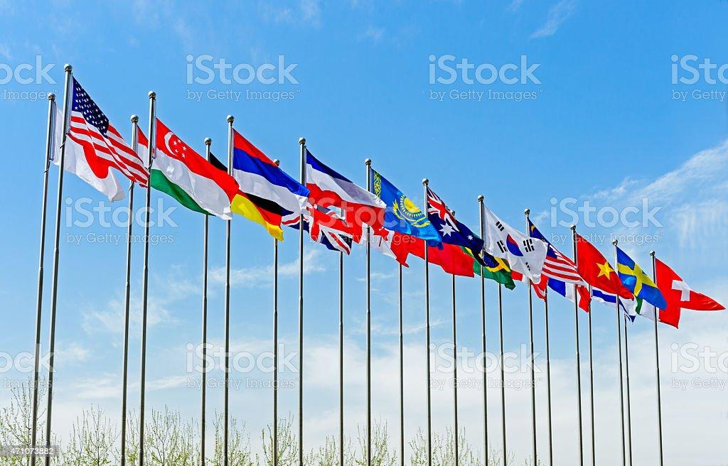 National Flag under blue sky stock photo