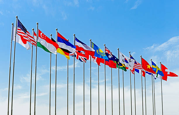 National Flag under blue sky National Flag under blue sky national flag stock pictures, royalty-free photos & images
