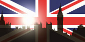 UK politics and government concept: silhouette of parliament buildings and Big Ben projected onto the Union Jack, UK national flag; the sun setting over parliament.