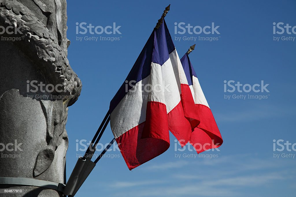 National flags adorning a memorial in the south of France stock photo