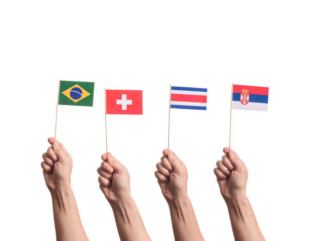 national flags in hands - wave icon stock photos and pictures