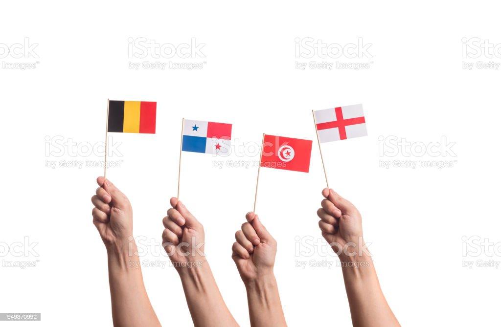 Drapeaux nationaux en mains - Photo