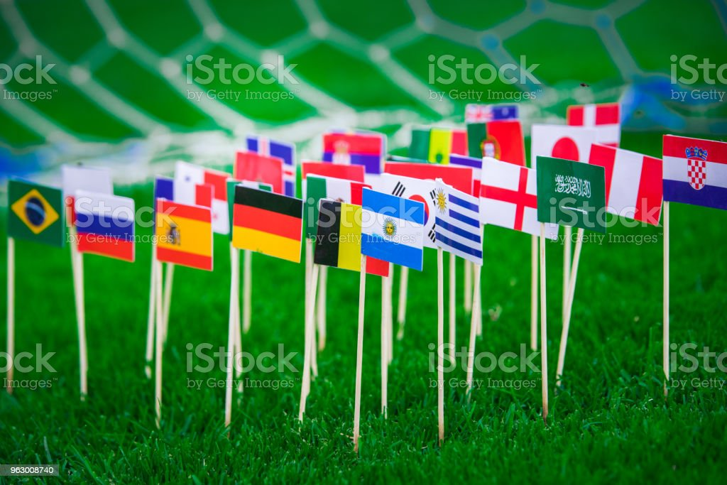 National Flags of all football countries on green grass, Football...