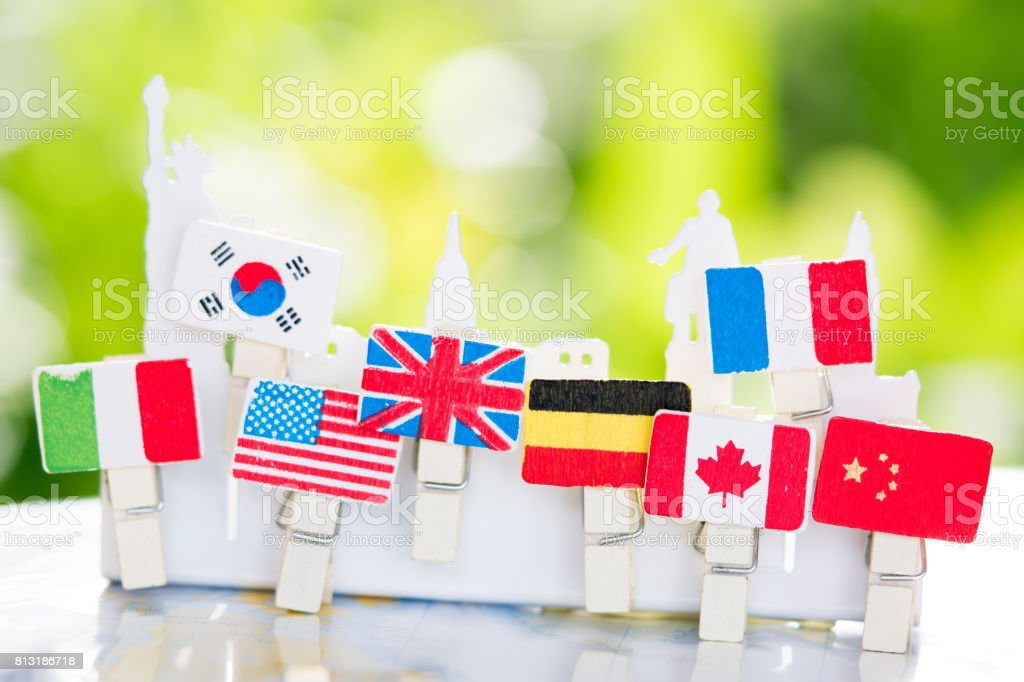 National flags of different countries stock photo