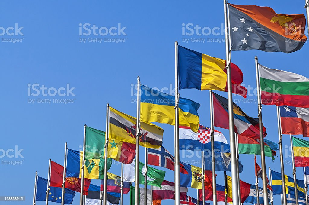 National flags of different country royalty-free stock photo