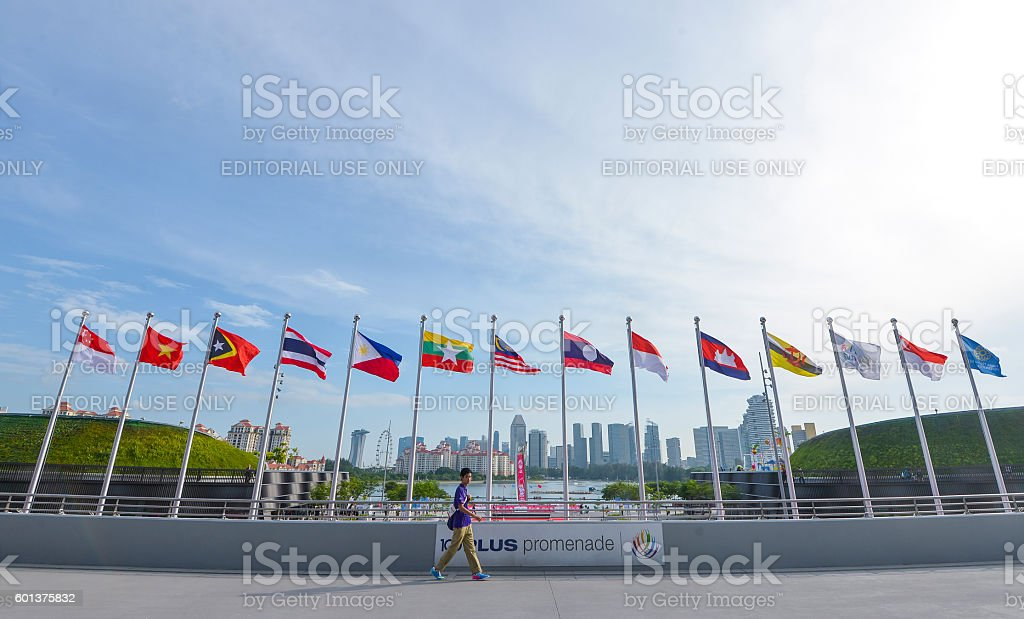 National flags of Southeast Asia countries stock photo