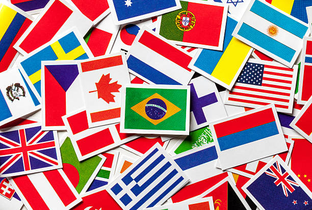 National flags of the countries of the world Brazilian flag National flags of the different countries of the world in a scattered heap. Brazilian flag in the center. latin american culture stock pictures, royalty-free photos & images