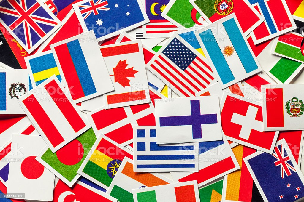 National flags of the different countries of the world stock photo