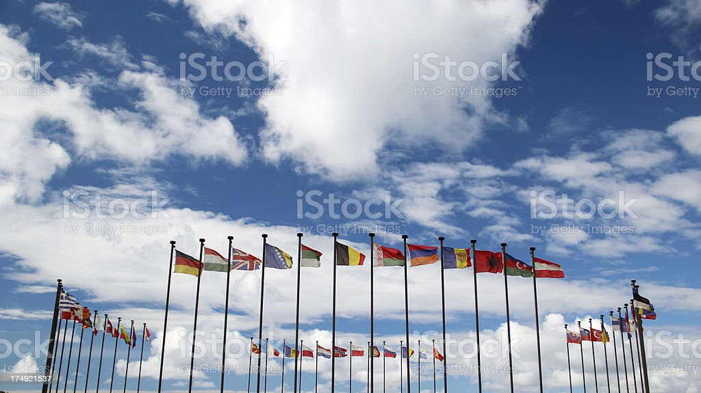 National flags of the different countries stock photo