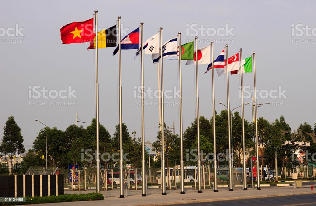 National flags of Vietnam and other countries stock photo