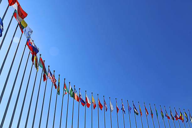 National flags National flags in blue sky diplomacy stock pictures, royalty-free photos & images