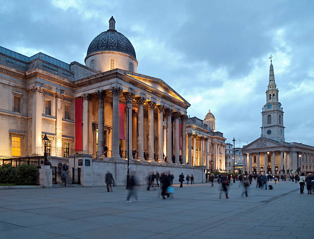 National Gallery in London at dusk stock photo