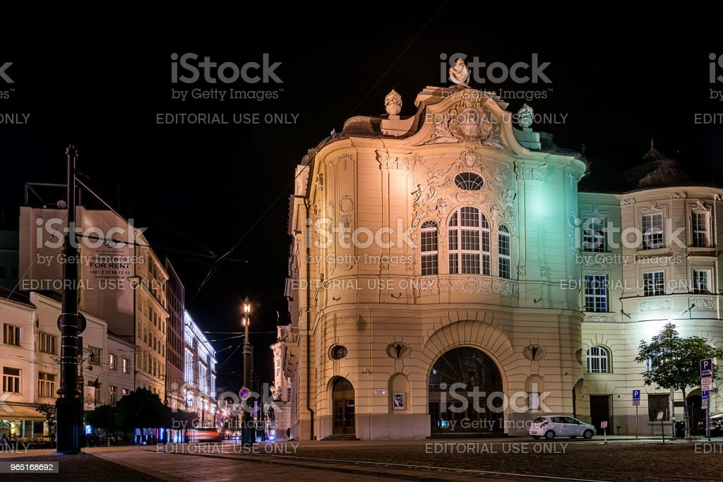 National gallery in the square of Ludovit Stur in the old town of Bratislava by night. royalty-free stock photo