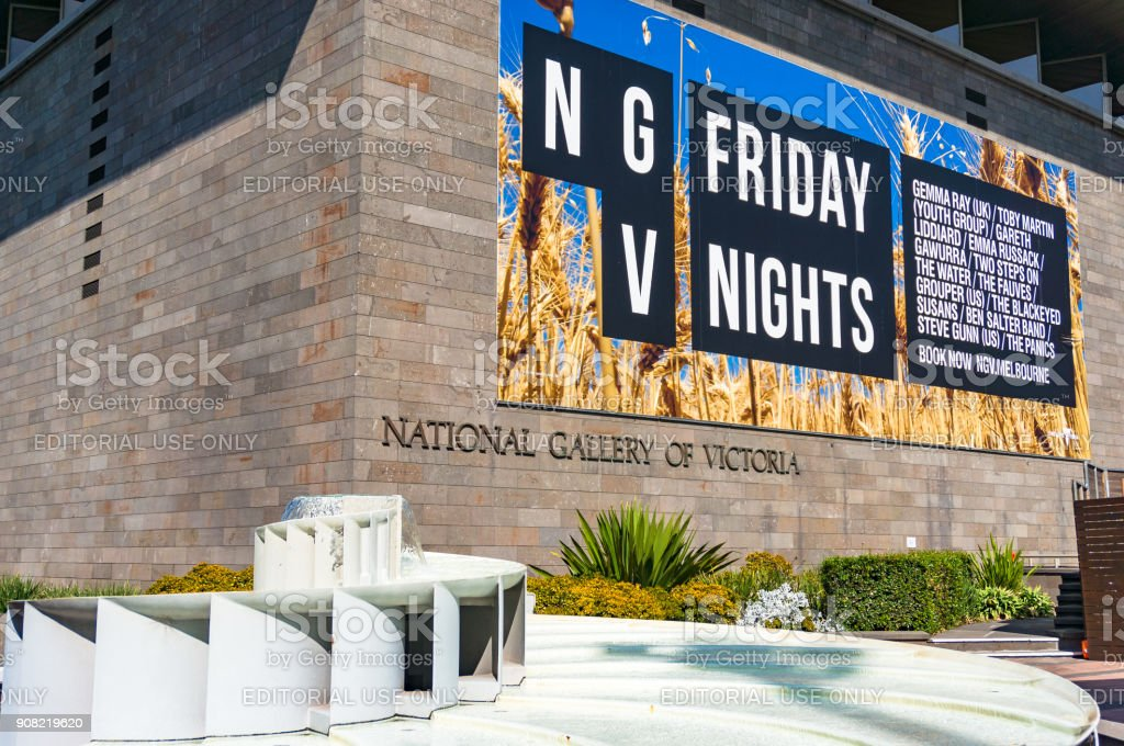 National Gallery of Victoria building and fountain stock photo