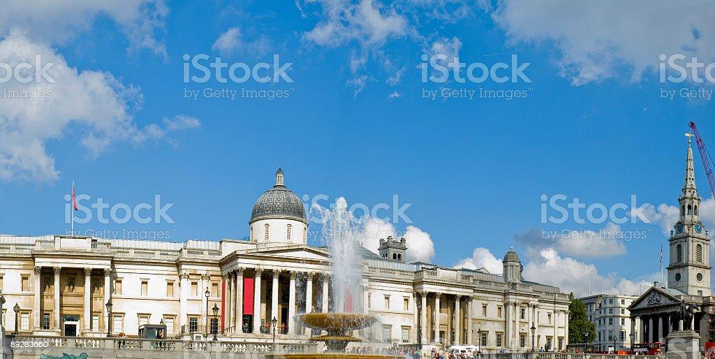 National Gallery panorama, London royalty-free stock photo