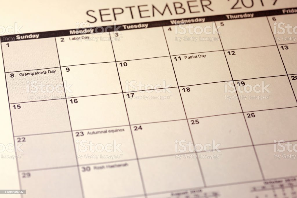 National Grandparents Day 2019 in United States of America in selective focus on the simple September 2019 calendar. stock photo