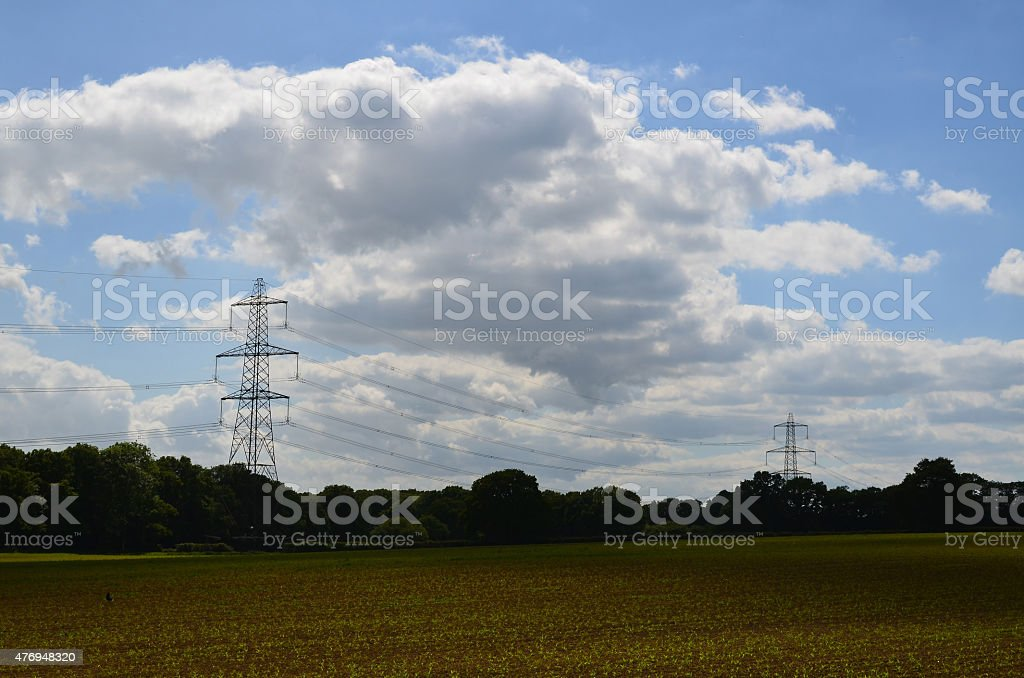 National grid electricity pylons in the United Kingdom. stock photo