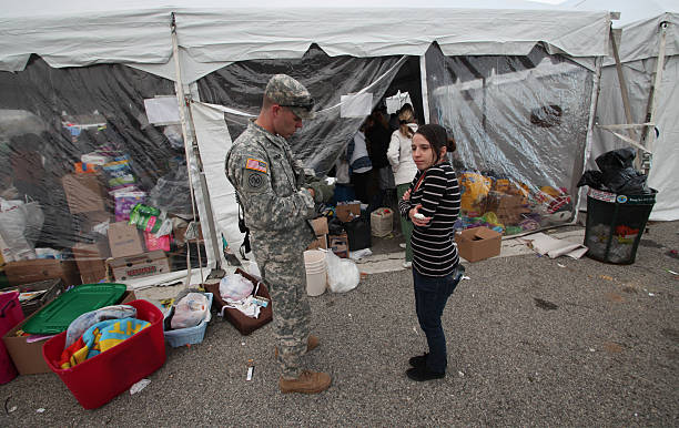 National Guard relief for Sandy victims stock photo