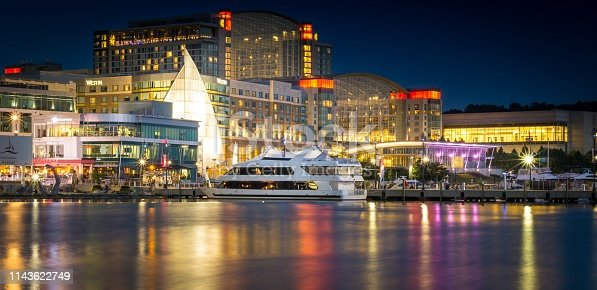 Long Exposure of the National Harbor in Maryland at Night Time