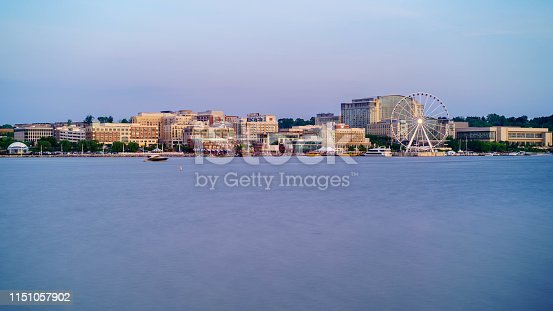 Long exposure photo of the National Harbor in Oxon Hill, Maryland