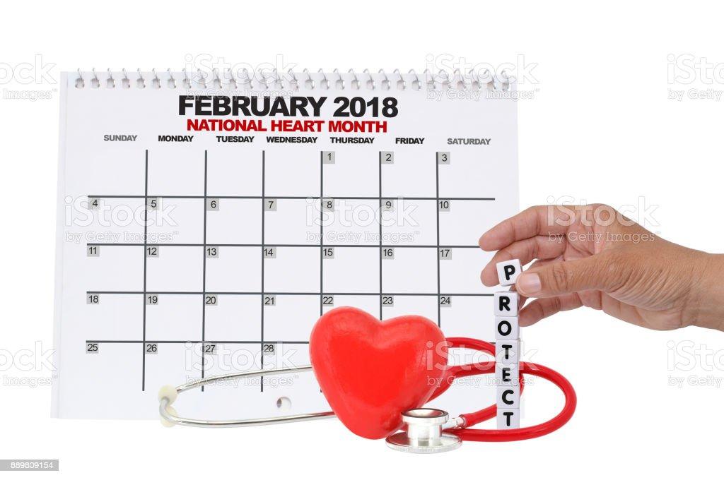 National Heart Month Calendar stock photo