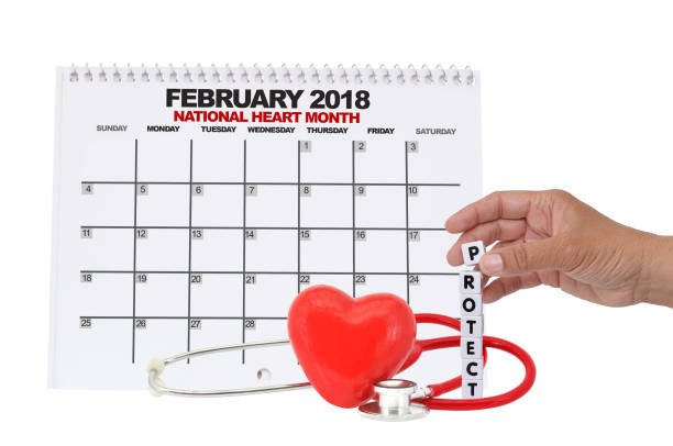 national heart month calendar - month stock photos and pictures