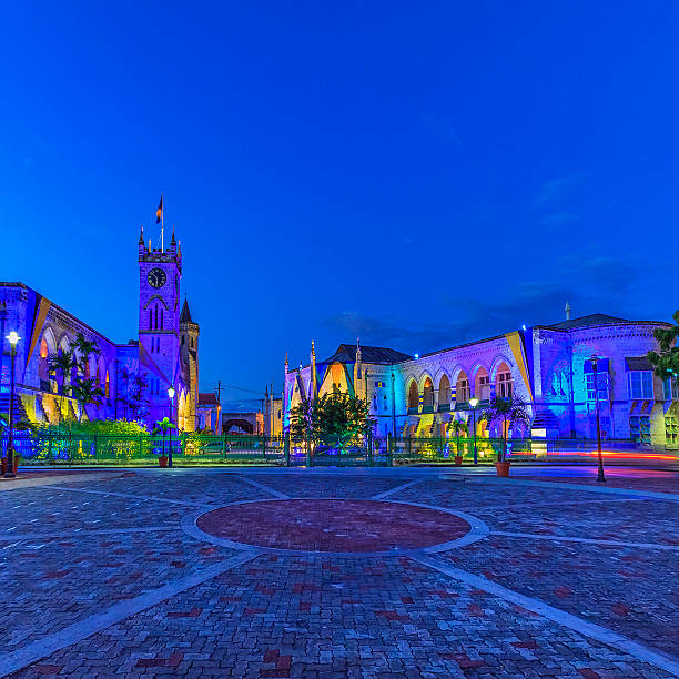 National heroes square, Bridgetown, Barbados colorfully lit stock photo