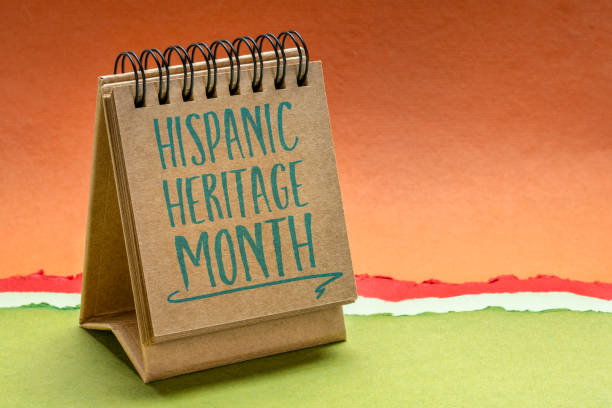 National Hispanic Heritage Month in a desktop calendar September 15 - October 15, National Hispanic Heritage Month - handwriting in a sketchbook or desktop calendar, reminder of cultural event hispanic heritage month stock pictures, royalty-free photos & images