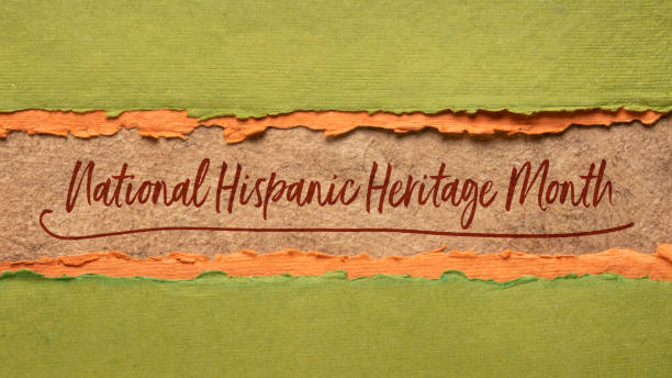 National Hispanic Heritage Month in a web banner September 15 - October 15, National Hispanic Heritage Month - handwriting in a handmade paper banner, reminder of cultural event hispanic heritage month stock pictures, royalty-free photos & images
