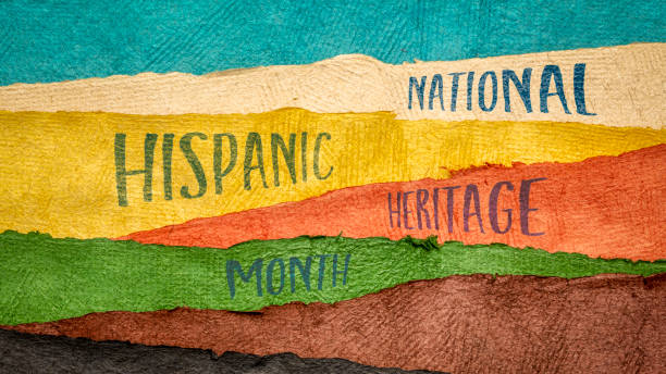 National Hispanic Heritage Month in a web banner September 15 - October 15, National Hispanic Heritage Month - handwriting in Huun paper handmade in Mexico, reminder of cultural event hispanic heritage month stock pictures, royalty-free photos & images