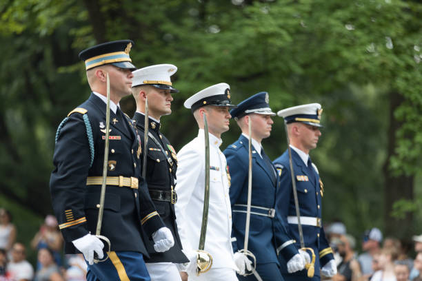 National Independence Day Parade Washington, D.C., USA - July 4, 2018, Members of the United states military march with swords at the National Independence Day Parade air force stock pictures, royalty-free photos & images