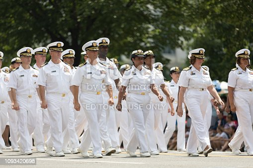 Washington, D.C., USA - July 4, 2018, The National Independence Day Parade, Members of the United States Navy, Marching down Constitution Avenue