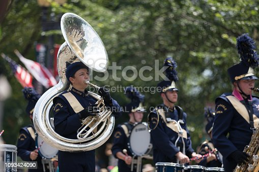 Washington, D.C., USA - July 4, 2018, The National Independence Day Parade, The Bald Eagle Area Marching Band, from Wingate, Pennsylvania