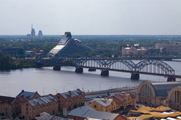 National Library of Latvia in Riga stock photo